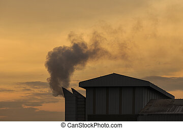 Industrial smoke from chemical factory in Thailand, Warm...