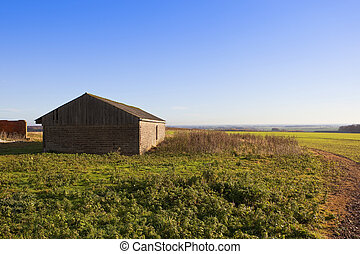yorkshire wolds farm building - a small barn overlooking a...