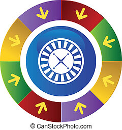 Roulette Icon - Roulette wheel icon web button isolated on a...