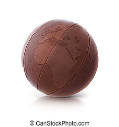 Leather globe 3D illustration europe and africa map