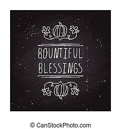Thanksgiving label with text on chalkboard background