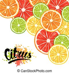 Background with citrus fruits slices. Mix of lemon lime...