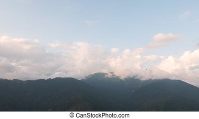 Clouds in the mountains. Panorama. Time Lapse. Sochi,...