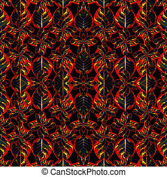 Stylized Ornate Floral Seamless Pattern - Digital collage...