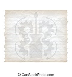 Vector crumpled lined paper with screwdriver and cogwheels
