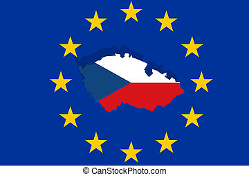 Czech Republic map on Euro Union flag background