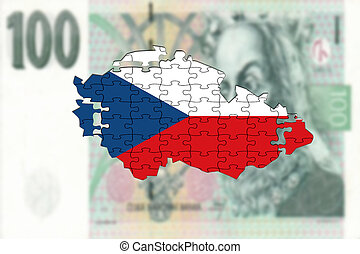 Czech Republic map on 100 Korun money background, falling...