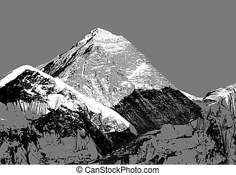 Abstract silhouette of Mount Everest from Kala Patthar,...