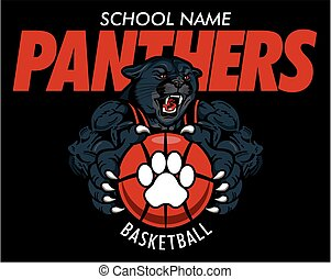 panthers basketball team design with muscular mascot player...
