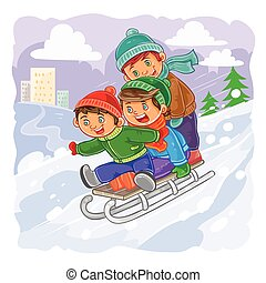 Three little boys roll together on sled from a hill - Vector...