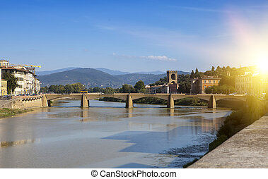 Florence. Bridge over the Arno River - View of Florence....