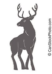Illustration of a deer with horns. Nature, and animals....