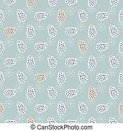 Pinecone seamless vector pattern. Blue pine scrapbook paper...