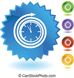 Clock web button isolated on a background