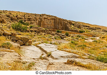 Persepolis royal tombs - Royal tombs ruins on the hill in...