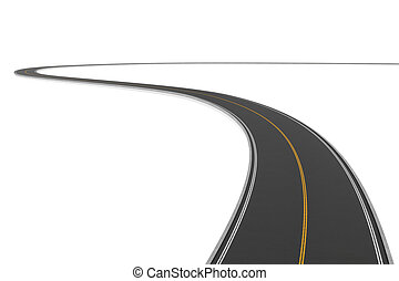 Rendering of two-way winding road bending to the left on...