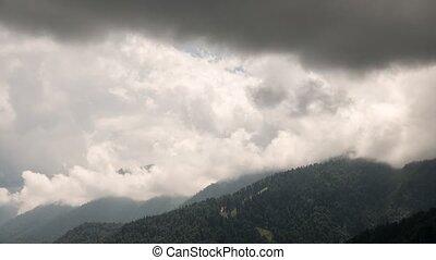 Storm clouds over the slopes. Time Lapse. Krasnaya Polyana....