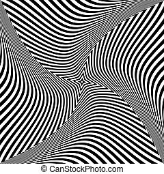 Torsion rotation movement. Abstract op art design.