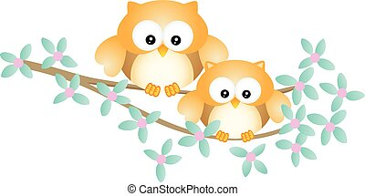 Cute owl couple sitting on tree branch