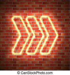Neon arrow on wall