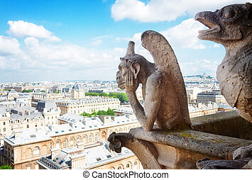 Gargoyle of Paris on Notre Dame Cathedral church and Paris...