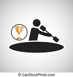 silhouette man canoe rowing athlete trophy vector...