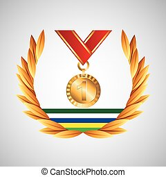 medal win olympic games emblem vector illustration eps 10