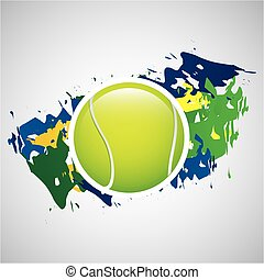 ball tennis olympic games brazilian flag colors vector...