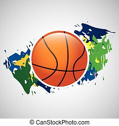 ball basketball olympic games brazilian flag colors vector...