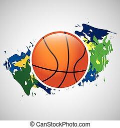 ball basketball olympic games brazilian flag colors vector...