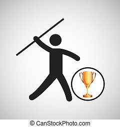 silhouette man javelin athlete trophy vector illustration...