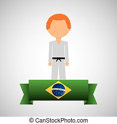 cartoon taekwondo player brazilian label vector illustration...