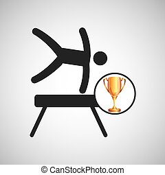 silhouette man gymnastic pommel horse trophy vector...