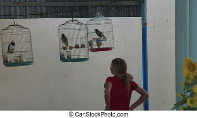 woman listening to the songs of birds in the bird cage -...