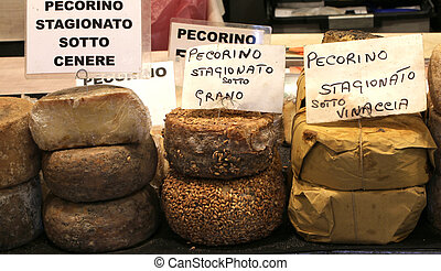 many types of pecorino cheese of the Italian written the...