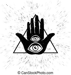 hand and eyes - Vintage vector illustration of hand and...