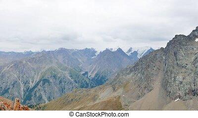 Mountain peaks and pass Shymbulak, Almaty, Kazakhstan....