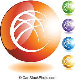 Abstract Globe button isolated on a background