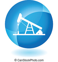 Oil Rig web button isolated on a background
