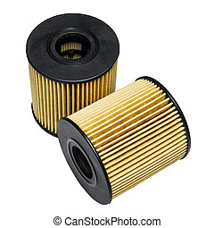 Cleaning the oil filter systems in motor vehicles on a white...