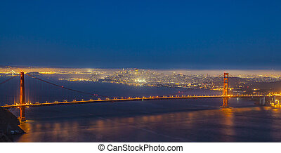 San Francisco Golden Gate bridge by night - famous San...