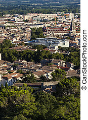 Aerial panorama of Nimes. Nimes, Occitanie, France.