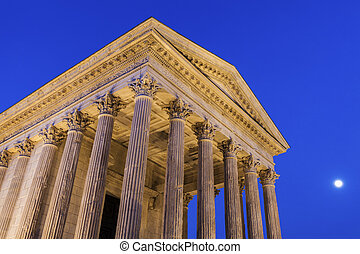 Maison Carree in Nimes. Nimes, Occitanie, France.