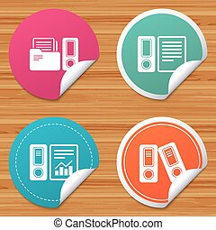 Accounting icons. Document storage in folders. - Round...