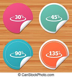 Angle degrees icons. Geometry math signs. - Round stickers...