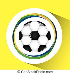 ball soccer olympic games brazilian flag colors vector...