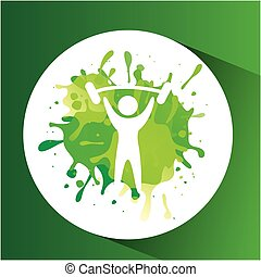 weight lifting symbol label laurel wreaths vector...