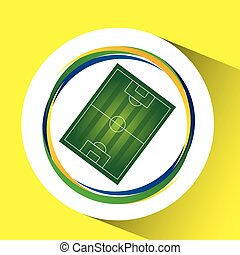 field soccer olympic games brazilian flag colors vector...