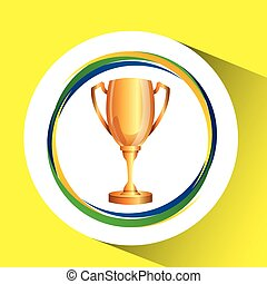 trophy olympic games brazilian flag colors vector...