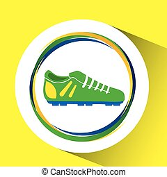 football shoe olympic games brazilian flag colors vector...